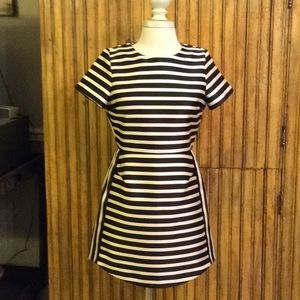 TOPSHOP  Navy and white Striped Dress